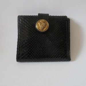 GUCCI BLACK RAJAH BLACK SNAKESKIN LEATHER WALLET